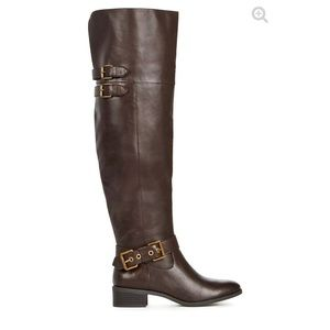 Brown thigh high buckle boots size 5.5